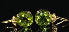 18 kt yellow gold earrings set with faceted peridot, 3.82 grams - 12 x 12 mm.