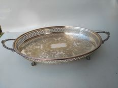 Old tray with pierced border and incision underneath - Anniversary Silver Plate