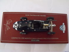 Cooper T51 1959 Formula1, 1/43 scale model (Biante Australia) which reached pole position in Montecarlo, signed by Stirling Moss