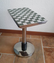 Nice side table chrome with tiles, years 60/70