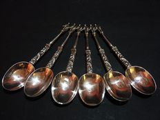 "Six silver teaspoons ""of the Apostles"" - Jans Rinze Spaanstra - Groningen - second half of the 19th century"