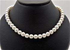 Fresh water pearl necklace - 1 row - pearl size approx. 7 mm - 585 gold clasp -