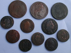 France - Louis XIII to Louis XVI - Lot of 11 coins - Copper