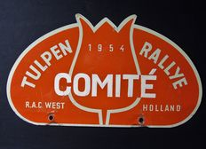 Original old rally plate of the Tulip Rally.