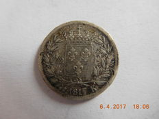France - 1/2 Franc 'Louis XVIII' 1817-K Bordeaux - Silver