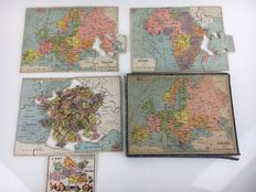 Puzzle of three maps - France, Africa and Europe - 1940