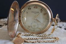 Beautiful savonette gold plated watch with chain, 1920s.