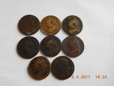France – Louis XVI – 1 Sol & 12 Deniers 1780/1792 (8 coins)