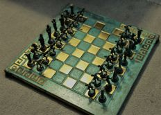 Greek mythology - Bronze chess set