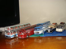 Ixo-Hachette - Scale 1/43 - lot of 5 coaches and busses from worldwide:  1 x Isobloc 648 DP, 1 x Neoplan Skyliner, 1 x Van Hool 306, 1 x isobloc 656 DH and 1 x Citroën T45