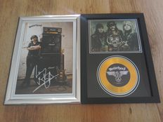Motörhead framed cd display and Lemmy framed photograph both with pre-printed autographs.