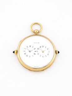 LeCoultre pocket watch with second time zone