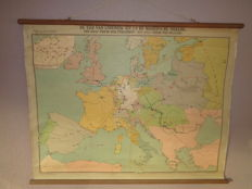 Old school poster / school board: The time of Louis XIV and the Noordsche War of 1659 (Peace of the Pyrenees) until 1721 (Peace of Nijstad)