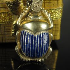 """Scarab"" – old enamelled pendant on necklace – made by hand"