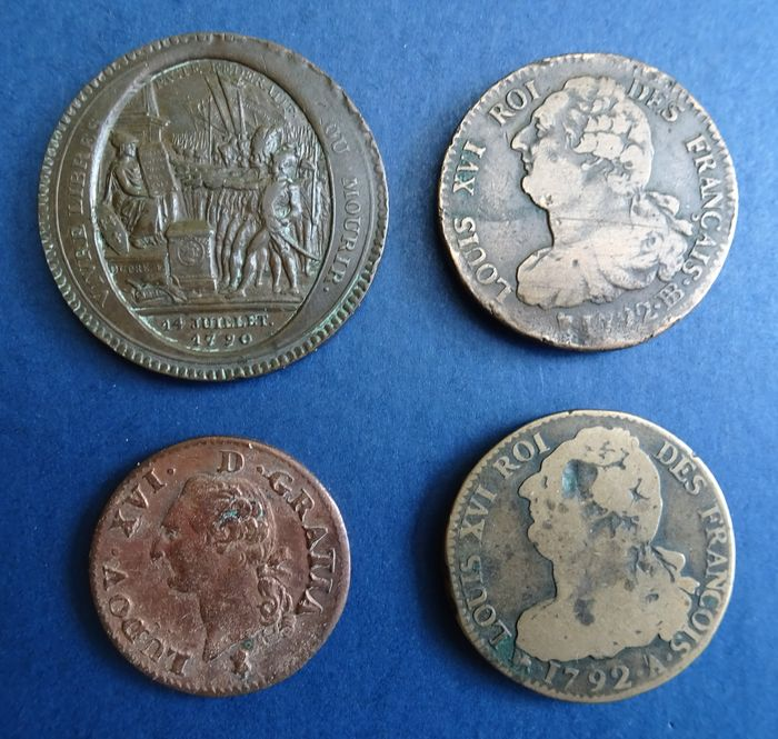 France – Louis XVI (Revolution) – 1 Sol 1791A, 2 Sols 1792A & BB, 5 Sols 1792 Monneron (lot of 4 coins)