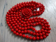 3 row coral necklace in red