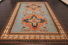Beautiful antique handwoven Oriental carpet eagle Kazak Caucasus, circa 1930, old rug, 175 x 210 cm