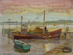 E Lamb (20th century) - Fishing boat in a harbour at sunset