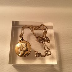 18 kt gold necklace and pendant - 46 cm