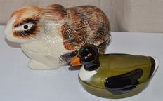 Set of 2 Hand made and hand painted, French, signed Caugant