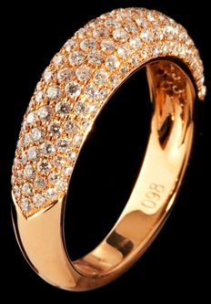 Handmade 18 kt red gold ring set with top quality brilliant cut diamonds 0.97 ct