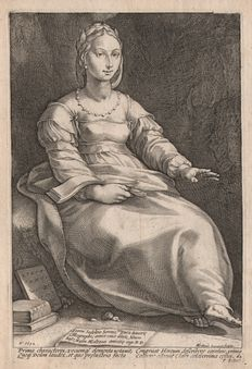 Hendrick Goltzius (1558-1617) - Calliope,  the Muse of Epic Poetry - engraved by Goltzius himself -  1592