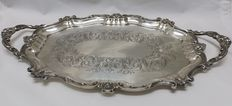 Oval-shaped silver tray. Engraved. Spain. 20th century.