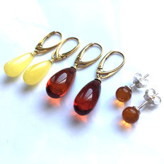 Lot of 3 pairs of drop pendant earrings and ball earrings made of  100% natural cherry, cogniac and egg yolk Baltic amber: not pressed, not modified