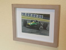 "Mario Andretti - World champion F1 and ""The Driver of the Century"" - original autographed 3D framed old photo + COA."