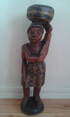 African carrier women wooden statuette