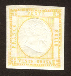 Neapolitan province – 20 grana – Variation with double effigy – Sassone 23