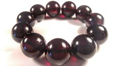 Baltic amber round beads bracelet, dark cherry colour, No Reserve, 49 grams