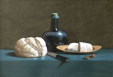 Leo Palmer (born 1952) - still life of a 17th-century wine bottle, bread and hazelnuts.