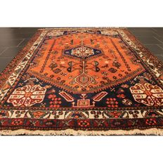 Antique hand-knotted Persian carpet Felder Afschari wool on wool plant colours 152x212cm