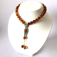 Muslim tespih of 33 beads of natural Baltic amber beads of 10 mm, kehribar tesbih 31.4 grams
