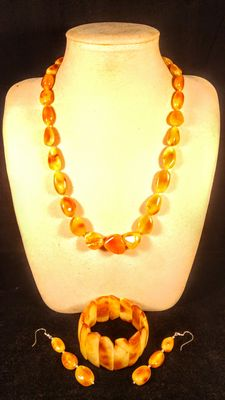 Genuine Baltic amber antique Egg yolk colour set, necklace, bracelet and earrings, 70 grams