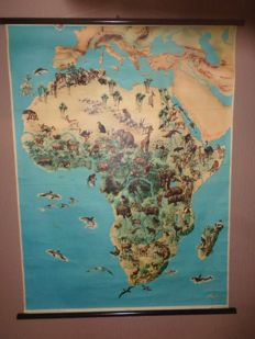 Old school poster /school map of Africa with its wild animals and plants.