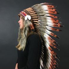 Indian headdress of real feathers and natural materials