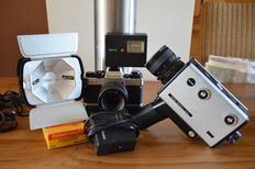 Lot of different Rollei photographic equipment including the Rolleiflex SL35E, the Rollei film 6 Macro Super 8, the autowinder E, a flash with battery charger  and a Philips film light