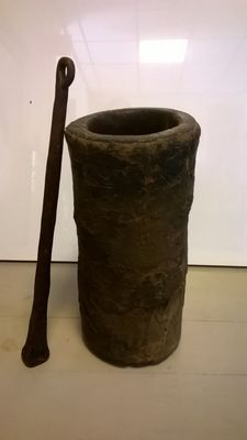 Antique African Iron pestal and wooden mortar 1900s