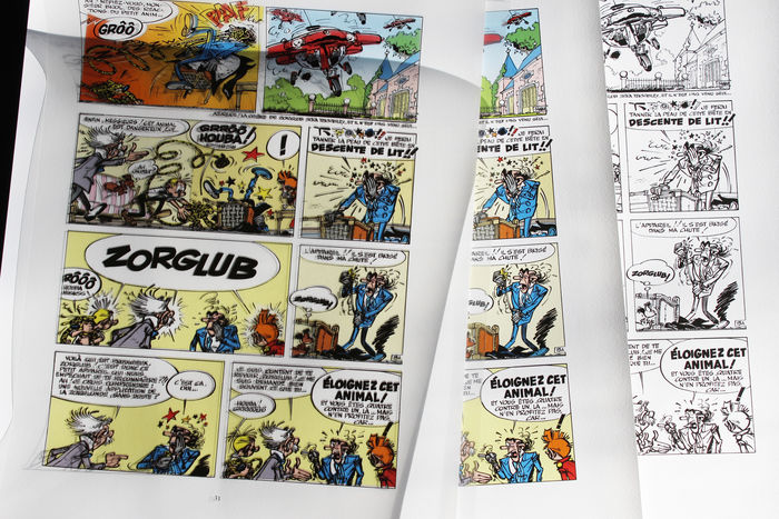 Franquin, André - print + 3 x draw pigment color and B & W Film - Spirou and Fantasio for sale