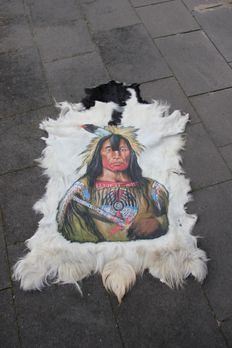 Hand painted goatskin - Navajo Indian