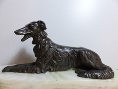 Art deco statue with lying Borzoi greyhound