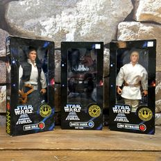 """Three Star Wars 12"""" figures in sealed boxes Han Solo, Luke Skywalker and Darth Vader"""