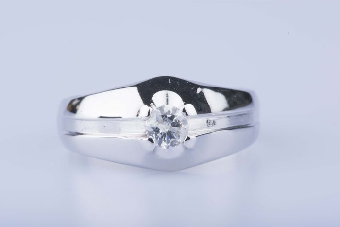 18k White gold ring with 1 diamond of approx. 0,25 kt - size 54 (EU)