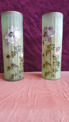 Pair of Art Nouveau vases with decoration of enamelled flowers