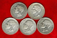Spain – Set of five silver coins of five pesetas – Alfonso XII (1876, 1879, 1882, 1883 and 1885*87). (5).