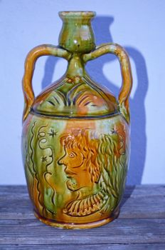 Unknown designer - Art Nouveau ceramic jug provided with two ears and a nice decor
