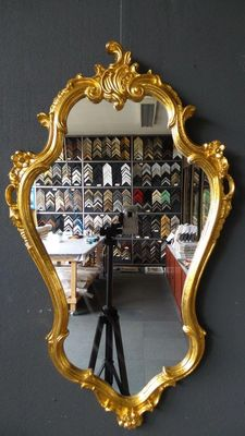 Large Venetian crest mirror - Hand-gilded - Gold