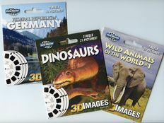 "Three fairly special View-Master ""3D Images 3 reel packets"" from 2011-2012"